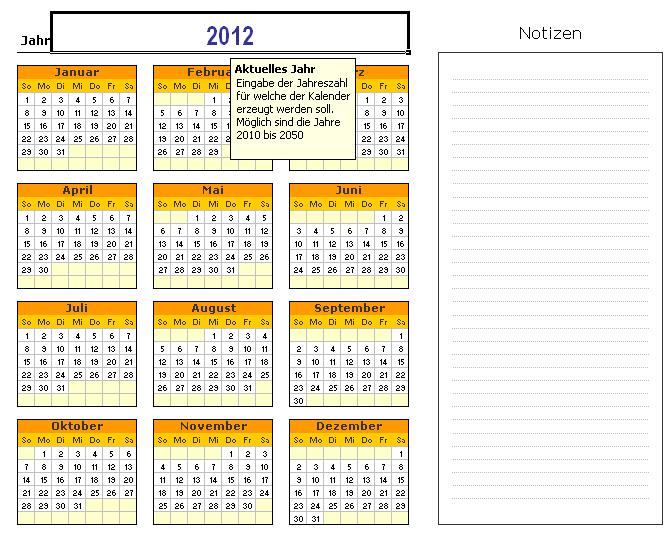 Kalender Übersicht