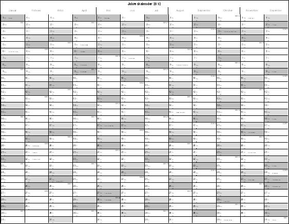 Excel Jahreskalender Überblick