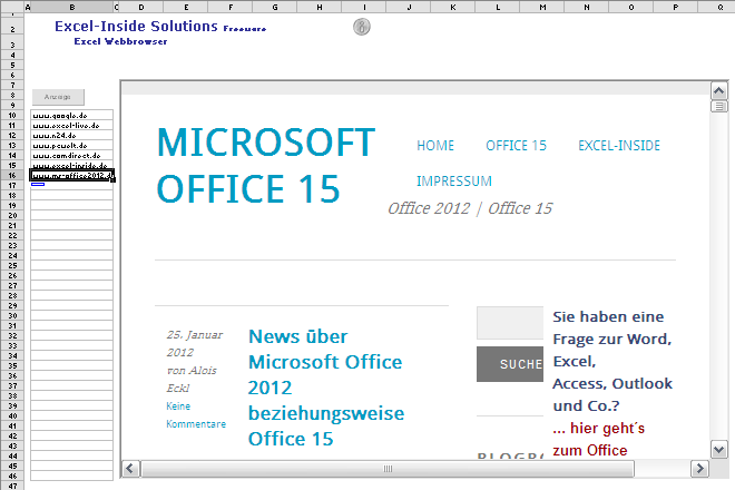 Mit Excel im Internet surfen