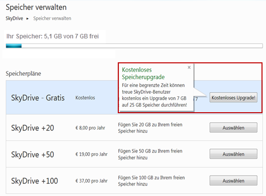 Upgrade SkyDrive von 7 GB auf 25 GB